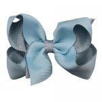 12pcs 4.5 inch silver layered boutique bow clip-lt. blue