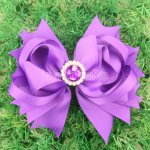 "12pcs 4.5"" Hair Bows with Acrylic Rhinestone Center With Clips-Purple"