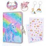 pickyNproud Rainbow Unicorn Notebook Sets with Keychain, Hair rope, Bracelets, Cute Pattern Stickers Children Dairy Books