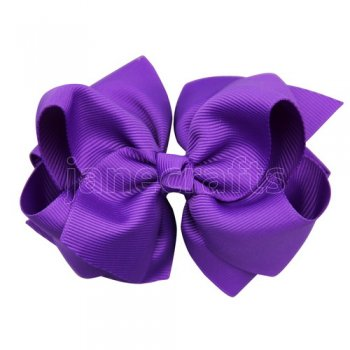 12pcs 4 inch layered boutique bow clip-purple