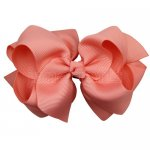 12pcs 4 inch layered boutique bow clip-lt. coral