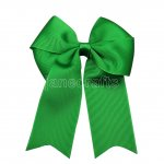 "12pcs 4"" Tails Down Solid Grosgrain Cheer Bow/Cheerleading Bows NO CLIP-Emerald"
