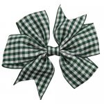 12 pcs school color green gingham 3 inch pinwheel bow w/ alligator clip