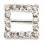 15mm 50pcs Square Rhinestone Buckle Invitation Ribbon Slider For Wedding Supply Silver Color