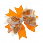"12pcs 4.5"" Gingham Layered Spike Hair Bow Without Clip- Orange"