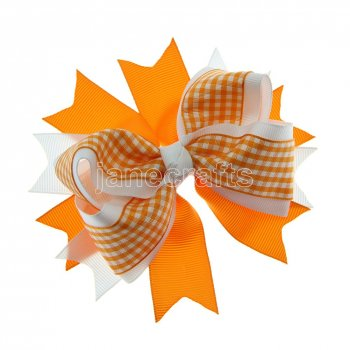 12pcs 4.5  Gingham Layered Spike Hair Bow Without Clip- Orange