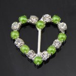 25pcs 25*26 Heart Rhinestone with Apple Green Pearl Buckle Invitation Ribbon Slider For Wedding Party Supply MIXc Color