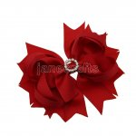 "12pcs 4.5"" Bling Spike Hair Bows with Rhinestone Slider Center With Clips-Poppy Red"