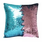 10pcs wholesale teal / pink two tone reversible sequin cushions cover pillow case