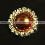 50pcs 16mm Round Metal Rhinestone Pearl Button Flatback BROWN
