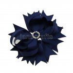 "12pcs 4.5"" Bling Spike Hair Bows with Rhinestone Slider Center Without Clips-Navy"