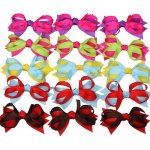 "3.5"" Small Baby Spike Chunky Hair Bow Clips 15pcs Mixed in 5 Colors"