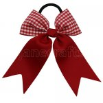 12 pcs school color red / red gingham 3.5 inch cheerleading bow w/ pony tail holder