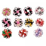 "3"" Flower Loop Hair Bow Clips 11pcs Mixed in 11 Color Bulk"