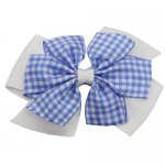 12 pcs school color white / lt.blue gingham 4 inch layered pinwheel bow w/ alligator clip