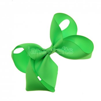 12pcs 4.5  Solid Grosgrain Chunky Boutique Hair Bows With Clips-Acid Green
