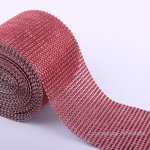 "4.6"" Wedding Diamond Mesh Wrap Roll Sparkle Rhinestone Looking Ribbon 10 yard-Red"