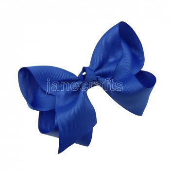 12pcs 5.5  Huge Solid Grosgrain Chunky Boutique Hair Bows With Clips-Royal