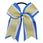 12pcs 5 inch gold / white 3 layered cheer bow ponytail holder-royal