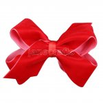 "12pcs 4.5"" Velvet Chunky Bowtie Hair Bows NO CLIP-Red"