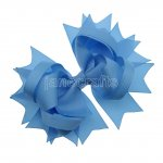 "12pcs 4.5"" Solid Spike Hair Bow Clips-Blue Mist"