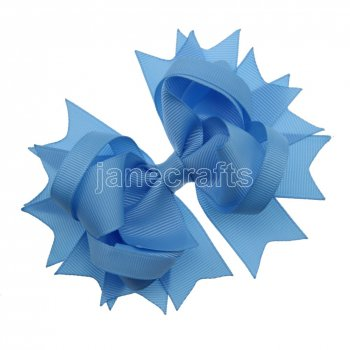 12pcs 4.5  Solid Spike Hair Bow Clips-Blue Mist