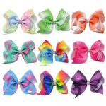 9 pcs 4.5 inch colorful w/ rhinestone boutique Bow Clips