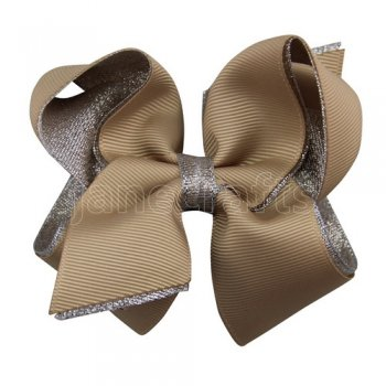 12pcs 4.5 inch silver layered boutique bow clip-tan