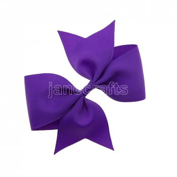 12pcs 4  Solid Pigtail with Spike Hair Bows NO CLIP-Purple