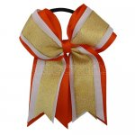 12pcs 5 inch gold / white 3 layered cheer bow ponytail holder-torrid orange