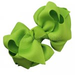 12pcs 2.5 inch layered boutique bow clip-apple green