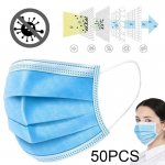 50pcs/set Disposable Unisex Face Masks 3 Ply Protective Non-woven Proof Flu Virus Elastic Soft Breathable Hygiene Safety Mouth Facemask