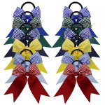 12 pcs school gingham 3.5 inch cheerleading bow w/ pony tail holder mix 6 colors