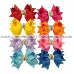 "8pcs FROZEN Rhinestone Center 4"" Spike Hair Bow With Clip-Mix 8 Color"