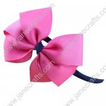 X12 Ribbon Wrapped Plastic Headbands with Solid Pinwheel Bows 3 Colors Mixed