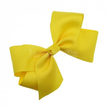 12pcs 6  Huge Solid Boutique Hair Bow No Clips-Maize