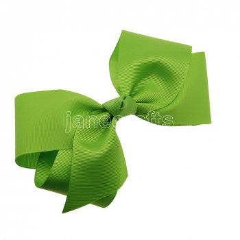 12pcs 6  Huge Solid Boutique Hair Bow Clips-Apple Green
