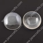 50pcs Dia 8mm Clear Glass Cabochons, Transparent,Cabochon Round Flat Back for Jewelry and Cabochon Settings(JS-GC013)