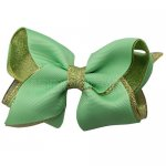 12pcs 3.5 inch gold layered boutique bow clip-mint