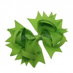 "12pcs 4.5"" Solid Spike Hair Bow Clips-Apple Green"