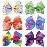 6 pcs 7 inch colorful w/ rhinestone boutique Bow Clips