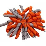 12 pcs school color grey / orange grosgrain 5 inch korker bow w/ lined clips