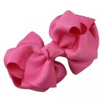 12pcs 2.5 inch layered boutique bow clip-hot pink