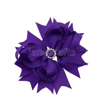 12pcs 4.5  Bling Spike Hair Bows with Rhinestone Slider Center With Clips-Purple