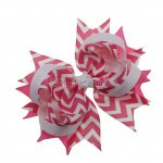 "12pcs 4.5"" Chevron Spike Hair Hair Bows NO CLIP-Hot Pink"