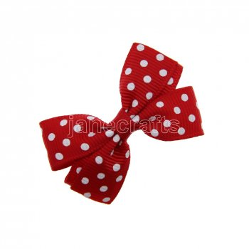 12pcs 2  Swiss Dot Pigtail Hair Bow Clips-Red with white