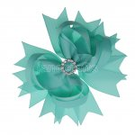"12pcs 4.5"" Bling Spike Hair Bows with Rhinestone Slider Center Without Clips-Aqua"