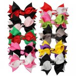"4"" Layered Two Tone Color Boutique Spike Hair bows 10pcs Mixed in 10 Colors"