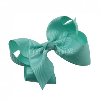 12pcs 3.5  Solid Grosgrain Chunky Boutique Hair Bows With Clips-Aqua