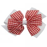 12 pcs school color white / red gingham 4 inch layered pinwheel bow w/ alligator clip
